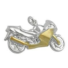 Ass 925 silver pendant charm Motorbike Rhodium-Plated Silver Two Colour 15 mm x 27 mm *** Click image for more details. #PendantsandCoins