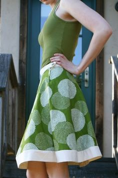 hemless a line skirt.nice green