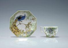 "** Rozenburg, Den Haag, ""Eggshell"" Porcelain cup and sauser, painted by Schellink, Samuel."