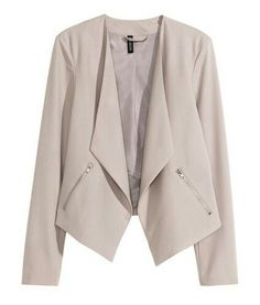 H&M. Jacket in a crêpe weave with a slightly longer front section, side pockets with a visible zip, and no buttons. Lined. White.