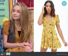 Maya's yellow floral v-neck dress on Girl Meets World.  Outfit Details: http://wornontv.net/52615/ #GirlMeetsWorld