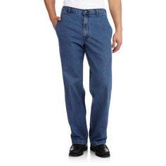 George Big Men's Elastic Denim Pant, Size: 48 x 30, Blue