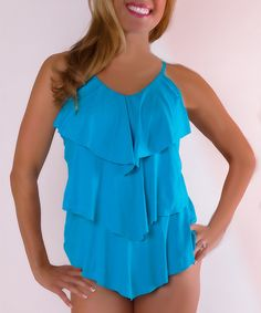 Love this Turquoise Triple-Tier Tankini Top - Women & Plus on #zulily! #zulilyfinds