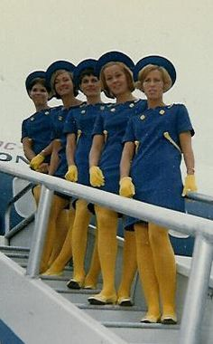 Colour clash - so ahead of today... stewardesses from 1968
