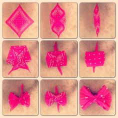 How to make bandana bows Bandana Crafts, Bandana Bow, Bandana Headbands, Bandana Skirt, Bandana Ideas, Tie Bow, Crafts To Do, Arts And Crafts, Diy Crafts