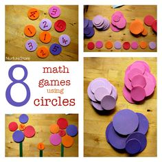 Make math fun with these math games using circles to work on counting, shapes and patterns.
