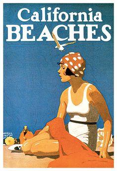 Vintage California Travel Poster, California Beaches