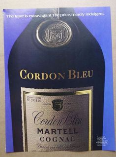 vintage Cordon Bleu print ad advertisement alcohol martell cognac france 80s