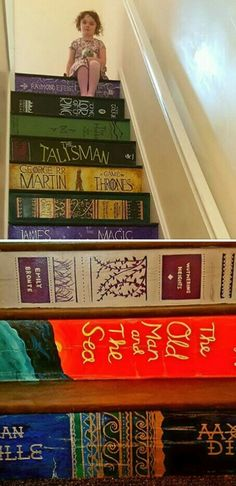 Tip:  you can paint your stairs to look like something, these have been painted like books!! 💗