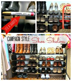 Stacking organizers are my favorite way to store shoes. Add the units vertically to hold a lot of shoes. What this blog author has done to embellish her organizers is decidedly glam - and oh, so easy!
