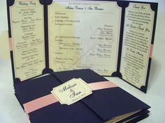 The Katherine - Unique Gatefold Wedding Program - Satin Ribbon Band. $3.00, via Etsy.