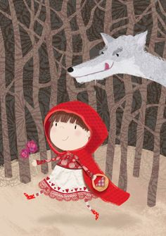 Julia Seal - Little red ridding hood. Little Red Ridding Hood, Red Riding Hood, Fairy Tale Projects, Wolf, Happy December, Fairytale Art, Little Pigs, Painting For Kids, Art Plastique