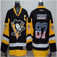 Pittsburgh Penguins #87 Sidney Crosby Black Alternate USA Flag Fashion Stitched NHL Jersey