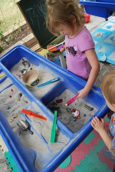 Go on a magnet hunt in the sand table. Search for hidden magnetic material and the things that are not.
