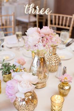 Gold Galvanized Vases with Blush Peonies Centerpieces