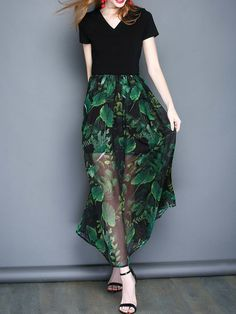 Shop Maxi Dresses - Green Printed Chiffon Casual Swing Holiday Dress online. Discover unique designers fashion at StyleWe.com.