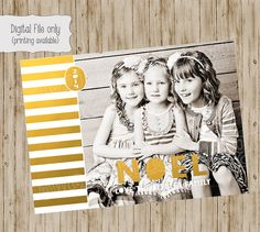 Photo Christmas Card  Gold Foil Christmas by SweetBeeDesignShoppe