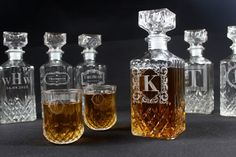 9 SETS - Personalized Engraved Whiskey Decanter Bottle Liquor Glass Flask Customized Groomsmen Gift Father Day Christmas Anniversary Gift