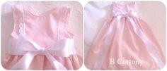 Cueiro cor de rosa com bordado Inglês e laço de cetim branco - White baby dress with cotton eyelet and white satin ribbon