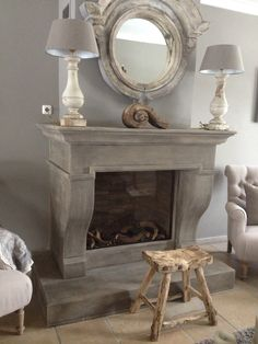 love the mirror. Fireplace Mantle, Fireplace Design, French Country Style, French Country Decorating, Grey Wooden Floor, Stone Mantle, Shabby, Home Decor Wall Art, Decoration