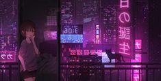 Kai Fine Art is an art website, shows painting and illustration works all over the world. Aesthetic Desktop Wallpaper, Anime Scenery Wallpaper, Cat Wallpaper, Computer Wallpaper, Aesthetic Backgrounds, Cyberpunk Anime, Cyberpunk City, Neon Nights, Glitch Art