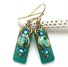 Stained Glass Earrings with  Glimmering Green by Hurstjewelry, $15.00