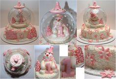 "By StellarCakeArt:  Snowglobe Pink & White Snowman 1st Birthday Cake  ""Like"" more cakes at:  www.facebook.com/stellarcakeart"