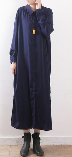 03121f69b Chic cotton Robes Omychic Button Down Work Outfits dark blue Maxi shirt  Dresses spring