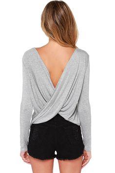 Gray+Crossover+Draped+V+Back+Stylish+T-shirt+#Gray+#T-shirt+#maykool