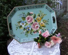 Serve your guests on a pretty vintage tole tray. Visit: http://cdiannezweig.blogspot.com/