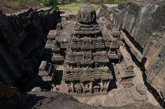WONDERS OF ANCIENT INDIA: Kailash / Kailasa Temple, Ellora Caves, via @topupyourtrip carved from a single rocky hill-side! this marvel is the largest single monolithic monument and excavation in the world. A UNESCO World Heritage Site, near the city of Aurangabad in western Indian state of Maharashtra