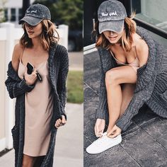 Amber - Noul Slip Dress, Brandy Melville Usa Ny Cap, Urban Outfitters Knit Long Sweater, Zara White Sneakers - New York casual