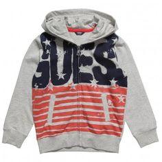 Boys Grey Jersey Flag Hooded Top #USA #Guess Inc #boys fashion #hoodie