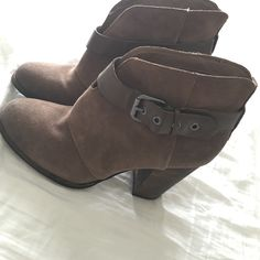BCBG booties Worn only a few times- super cute brown BCBG booties. Buckle closure detail. BCBG Shoes Ankle Boots & Booties