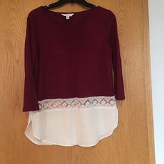 Charming Charlie! Burgundy top with lace accent But handy knit.  Lace trim.  White chiffon lower layer. Charming Charlie Tops Blouses