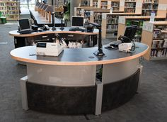 Custom, versatile, height-adjustable workstations provide service solutions for the San Jose Public Library System.