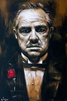 Godfather Movie, Godfather Tattoo, The Godfather Wallpaper, Mafia, Don Corleone, Gangster Movies, Creation Art, Marlon Brando, Dope Art