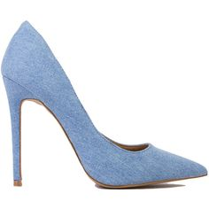 Denim Pumps ($37) ❤ liked on Polyvore featuring shoes, pumps, heels, blue denim, pointy toe pumps, blue denim shoes, heels & pumps, pointed toe high heel pumps and blue shoes