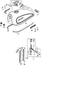 1974 honda cb360 fuel tank parts - best oem fuel tank parts diagram for  1974 cb360