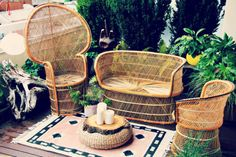 Set Vintage 1970s Rattan Peacock Chair Side Chair and Sofa