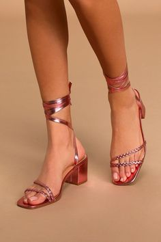 Lulus Exclusive! Add the ideal finishing touch to your own sunny day look with the Lulus Zoraniya Metallic Pink Lace-Up Hindfoot New sandals! Shiny metallic vegan natural leather shapes these cute pumps that have a square toe footbed, two asymmetrical braided toe straps, in addition to lace-up straps that wrap and tie at the particular ankle. Chunky block high heel makes these sandals ideal for all-day wear. Suit: This garment fits correct to size. 2 . 5 #promheels3inch #promheelsneutral…