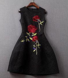 Black Embroidered Rose Dress