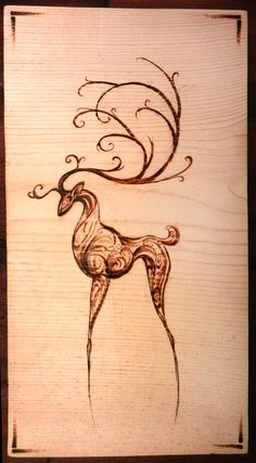 Intricate Deer Woodburning. ... Would go with my reindeer collection!Don't like the legs but still cool.