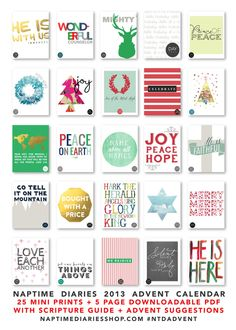 2013 Naptime Diaries Advent Calendar - 25 miniprints and a 5 page downloadable resource guide for Advent!