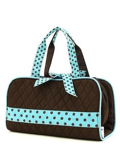 BROWN AND TURQUOISE QUILTED SOLID 3PC COSMETIC BAG – The Mommy Boutique