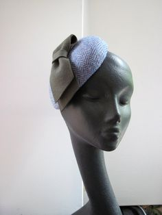 f0617266cfe Womens Cocktail Hat Blue Harris Tweed Grey Bow by MindYourBonce Fascinator  Hats