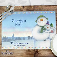 Personalised The Snowman and the Snowdog Placemat Christmas Themes, Christmas Gifts, Christmas Ornaments, Holiday Decor, Snowman And The Snowdog, Gift Tags, Messages, Placemat, Fun