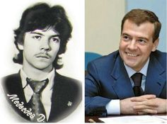Dmitry Medvedev in his youth and now