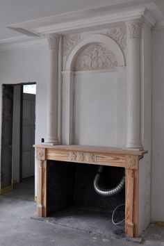 Reconstruction of empire-style fireplace made by atelier Standaert Bruges Belgium