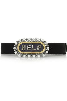 Lanvin                               Crystal and faux pearl belt